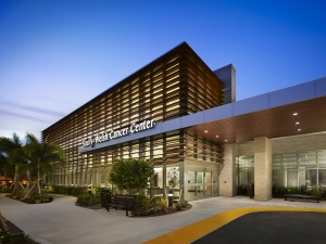 Exterior evening at Indian River Cancer Center