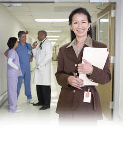 Hospital staff in hallway